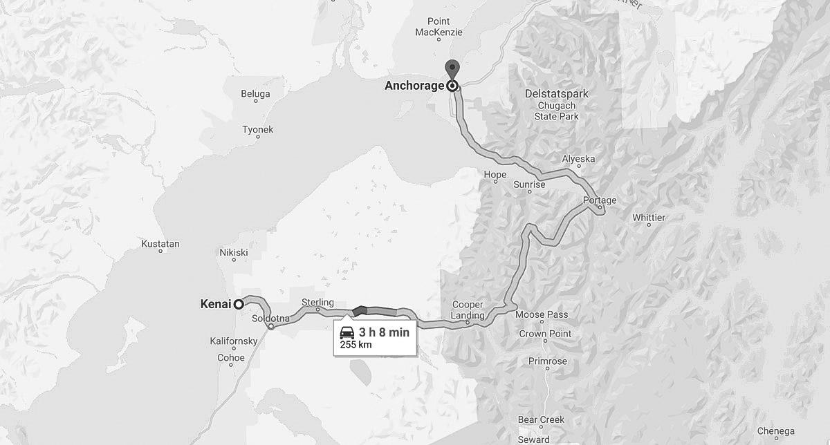 köra mellan anchorage och kenai på seward highway i alaska