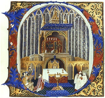 The upper chapel of the Sainte-Chapelle, Paris. Illumination on vellum, signed MB 1837. After f. 83v of the Benedictional, c. 1430, burnt in 1871 (Paris, Musée de Cluny)