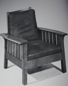 The Craftsman Workshops,  Reclining chair , 1906   Oak and leather covered cushions (reupholstered)    42 ½ x 31 ½ x 35 in. Private collection.