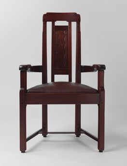 Charles Sumner Greene and Henry Mather Greene, made by Peter and John Hall's Workshop   Armchair , 1907-1909  Honduras mahogany, ebony, fruitwood, silver, copper, and mother of pearl  42 x 24 ¾ x 18 in.  Metropolitan Museum of Art