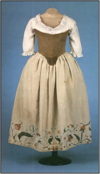 Woman's Shift, Corset, Petticoat , c.1750  linen, cotton, wool (crewel work)  Colonial Williamsburg, Virginia
