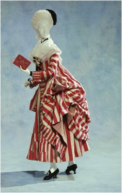 Polonaise Striped Dress , c. 1780  Striped silk, fly fringe  Kyoto Costume Institute, Japan