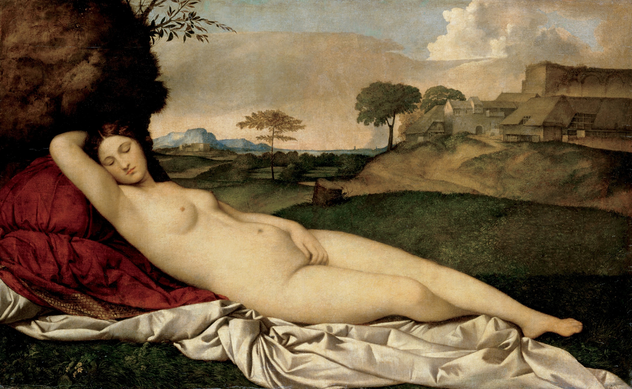 Tiziano Vecellio and Giorgione , Sleeping Venus , circa 1510 Oil on canvas, 108 x 175 cm. Gemäldegalerie, Dresden