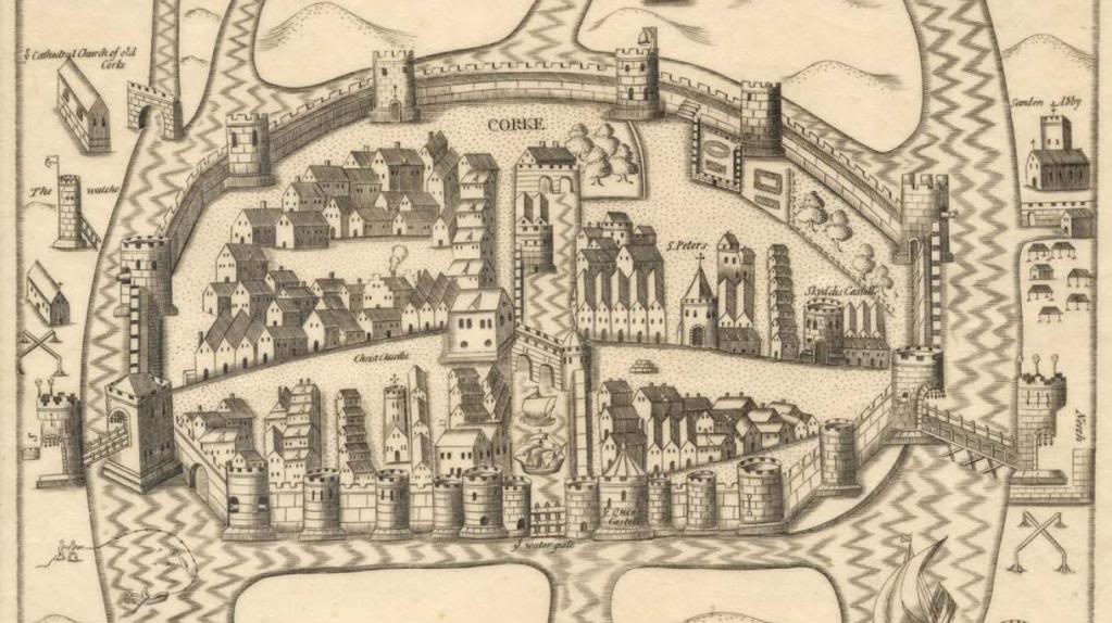 Detail of Placata Hibernia,  Map of Cork City, circa 1585-1600, Hardiman Collection in Trinity College, Dublin