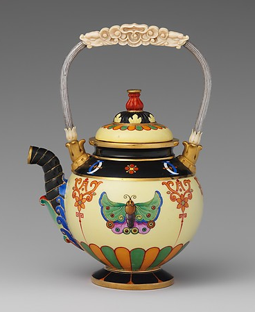 Teapot, 1832-34  Sèvres Manufactory (French, 1740–present) Hard-paste porcelain, silver, ivory Metropolitan Museum of Art, New York On view at The Met Fifth Avenue in Gallery 554  Learn more about the teapot.