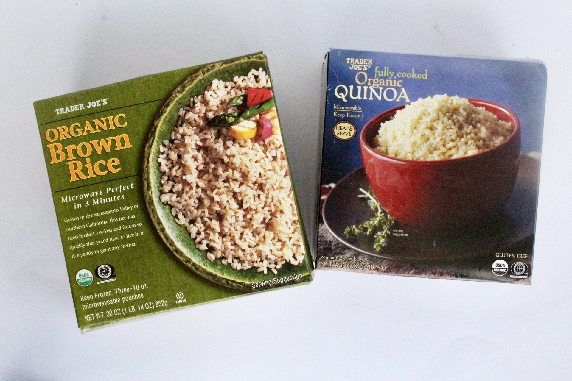 9. Frozen Brown Rice & Quinoa - Love the pre-cooked, frozen boxes of brown rice and quinoa that each come with three individual packets. You can heat these up so quickly either on the stove or in the microwave. Some of my favorite ways to use the brown rice are either for burrito bowls or stir-fries, and I love using the quinoa to make quinoa+black bean burgers!