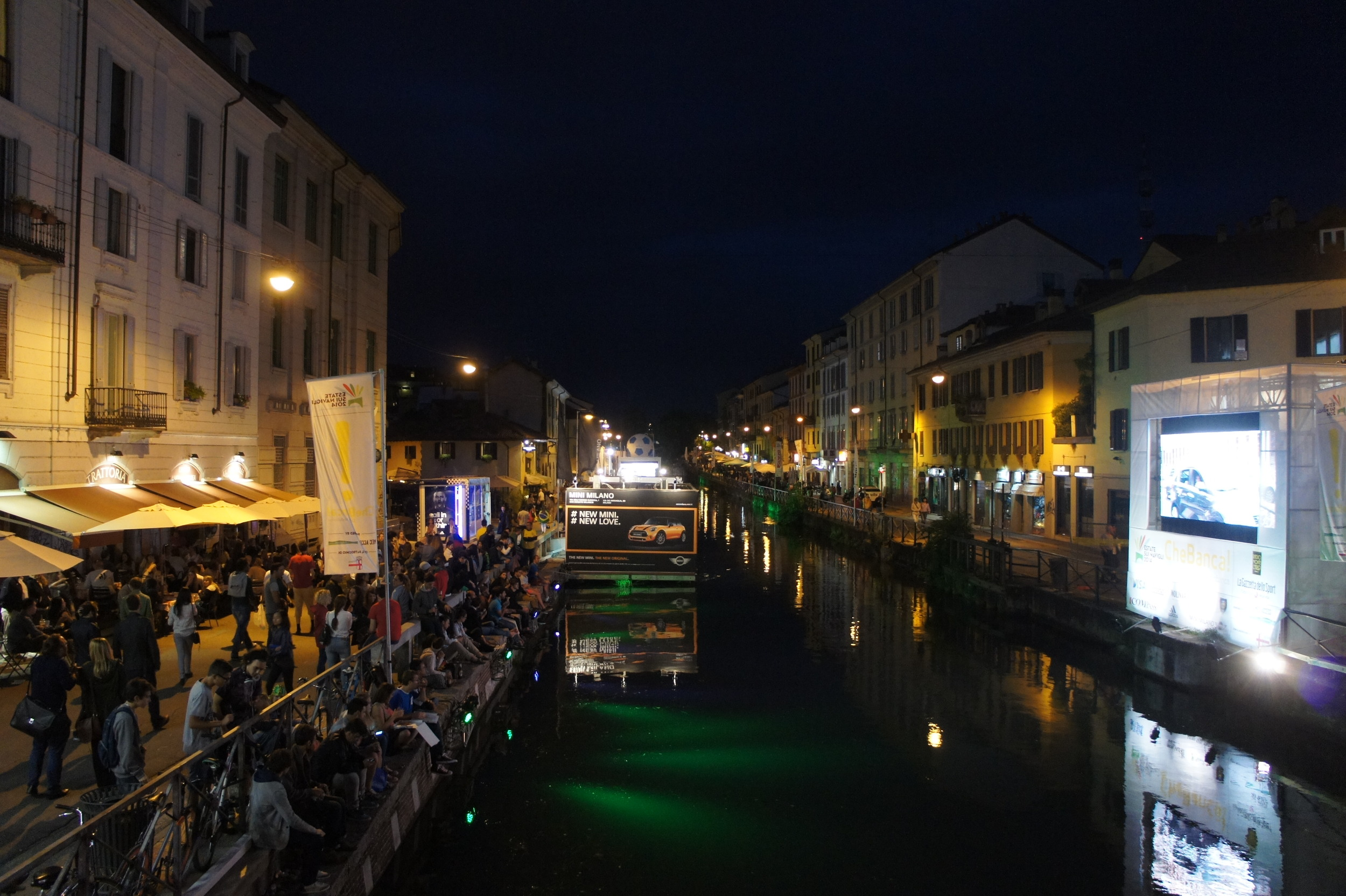 World Cup viewing party along the Naviglio