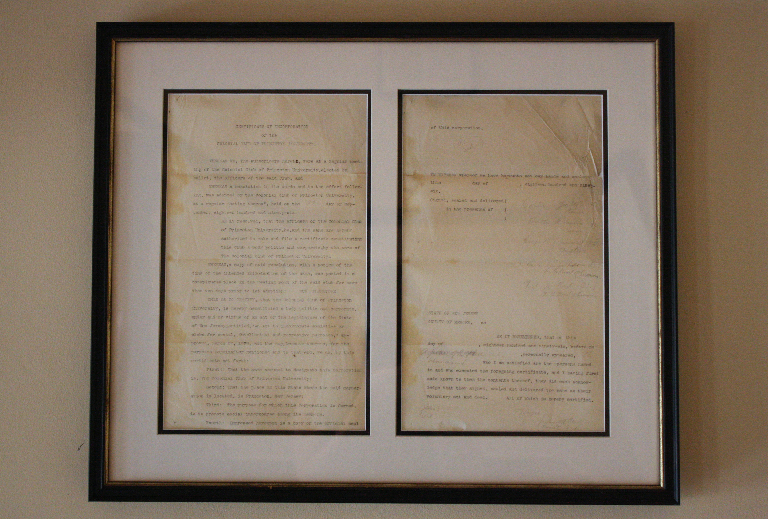 Copy of Colonial's Certificate of Incorporation, 1896
