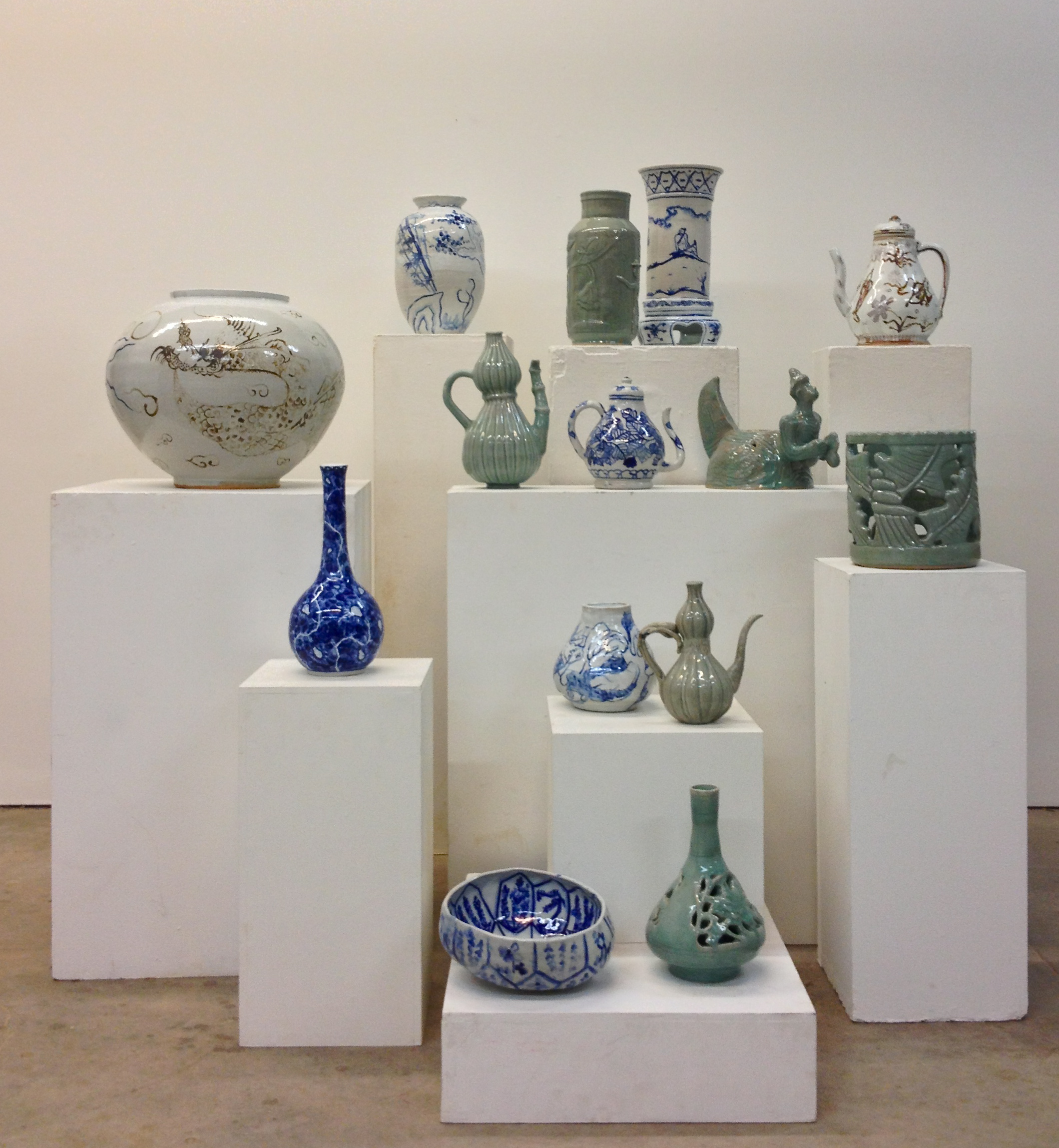 A selection of one semester's worth of celadon and cobalt production.