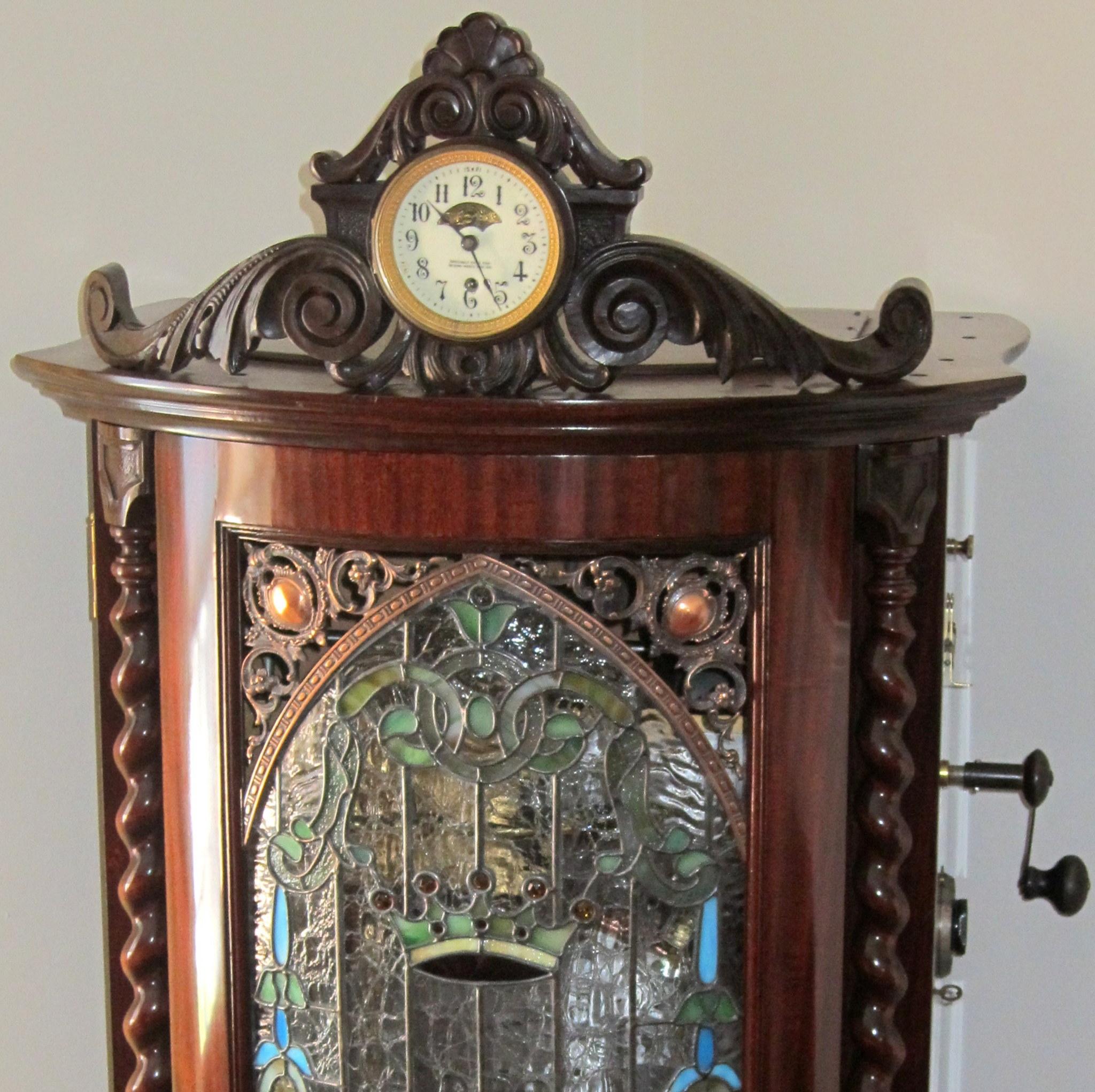 """Regina 15 1/2"""" Changer Clock & Art Glass"""