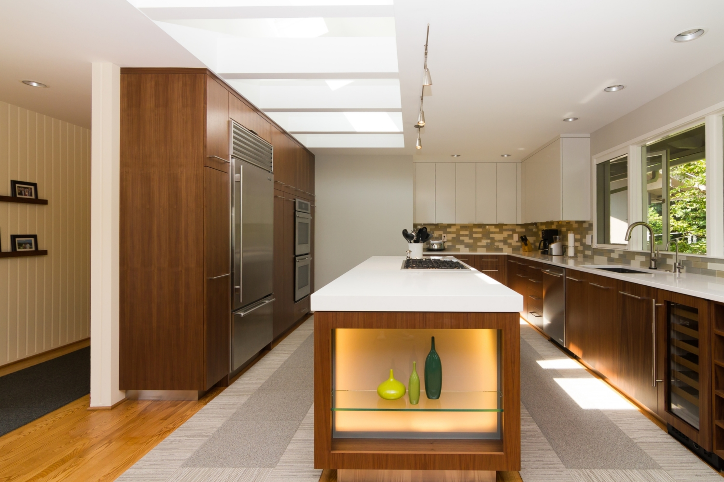 Walnut Euro Cabinets and Mitered Quartz Counters