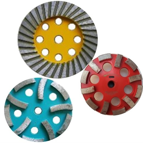 """DIAMOND CUP GRINDING WHEEL    Double Row    4  """"   and 5""""    Toolgal      4  """"   to 7""""     SCRG   4  """" to 7""""     PL Type    Turbo (Course/Medium/Fine)   4"""" and 5""""     Aluminum Wheel   4"""" to 7""""     Aluminum with Resin Filled   4"""" and 5""""     PDC   Cupwheel     4  """", 5"""", 7""""    Rubber Body Turbo   Cupwheel     4""""   to 7""""     Application:  Concrete, Stucco,   Granite, Marble and Masonry membrane, epoxy, glue coating, grinding, forming and removal"""