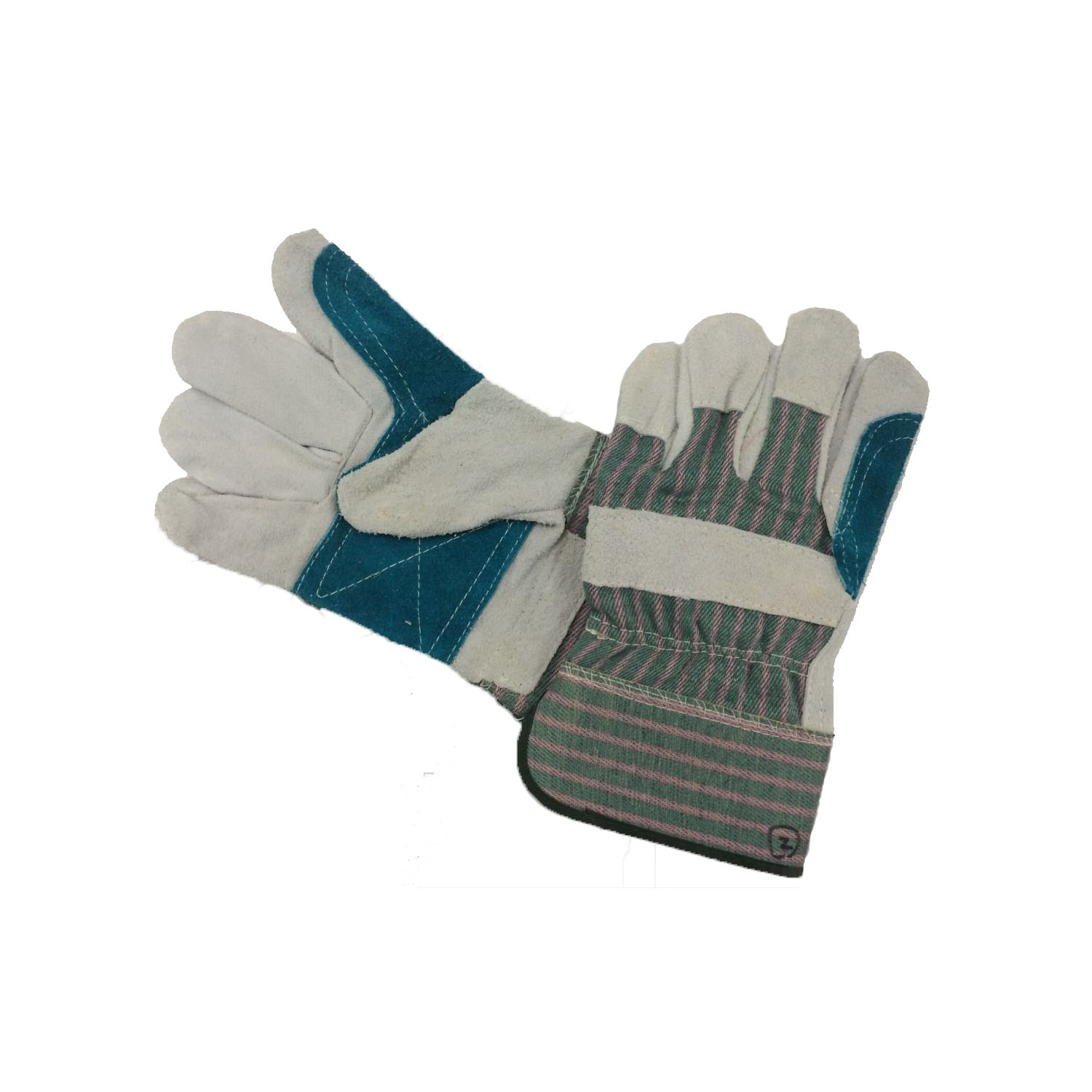 Working Glove 4 - Cow split leather, reinforced palm, rubberized cuff, green/grey drill fabric, half lining, AB grade.