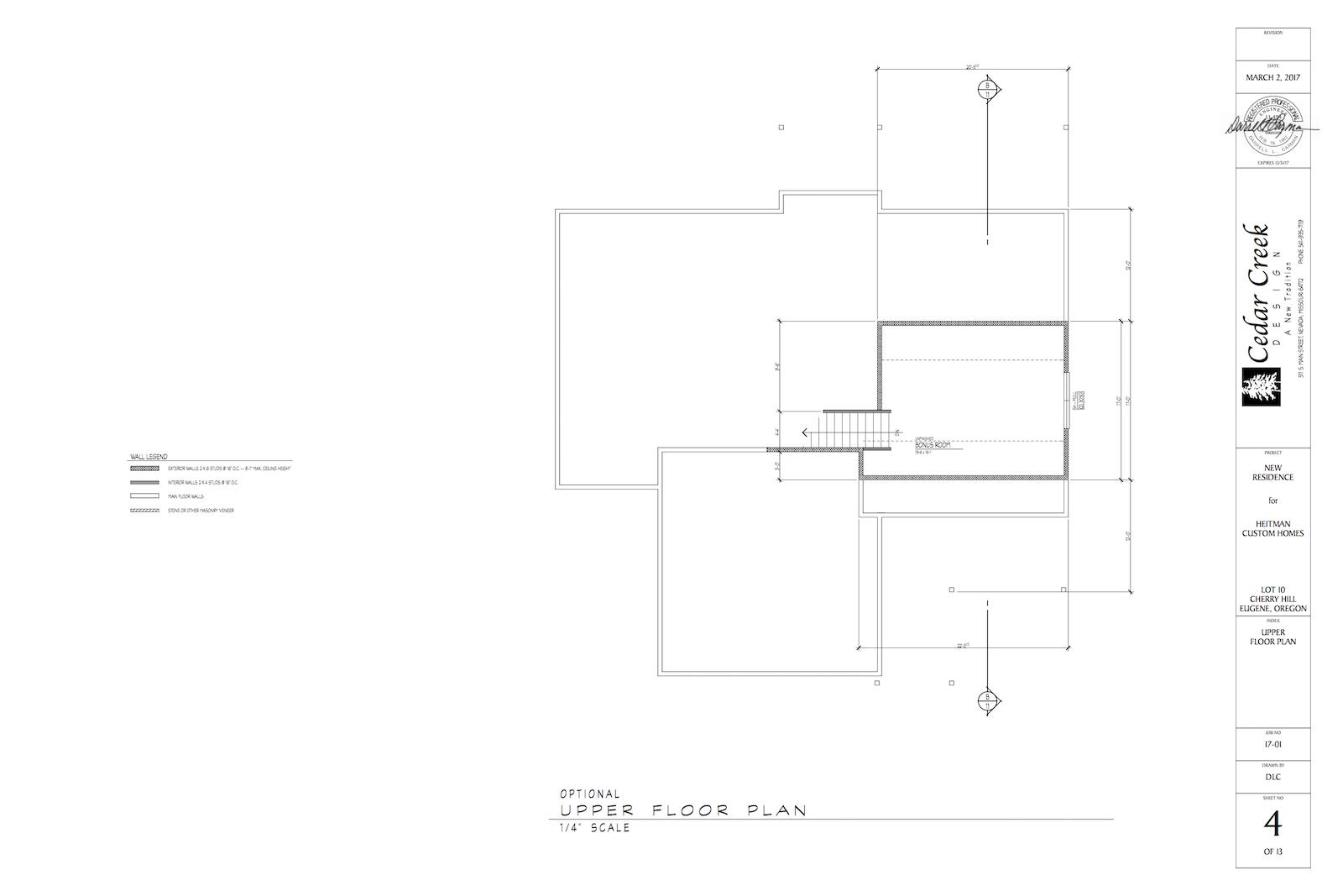 Floor Plan for Bonus Room