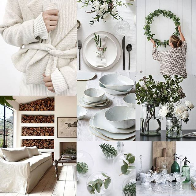 Mood board of the day: Winter Whites. Now the weather is feeling more like fall. Being festive doesn't have to be Red and Gold. Clean whites with a touch of holiday greenery can do just to job to make it festive. Photo credits all tagged.  #chairsandcups #color #tablescapes #decor #sfmade #artisanal #rentals #ccmoodboards #bayarea #bayareaevents #winterwhite #white #holiday #festive