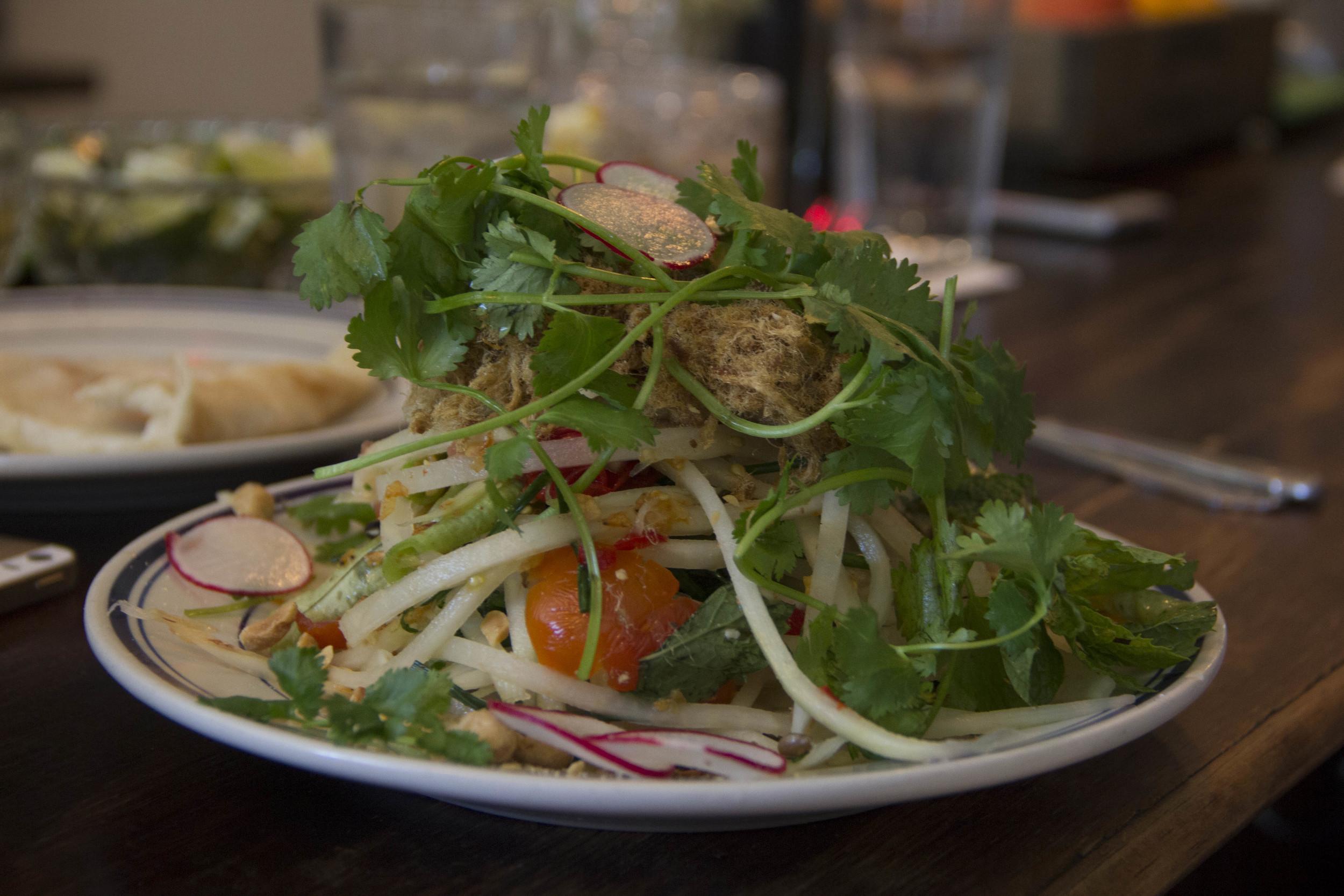 Green papaya salad with radishes, cilantro,
