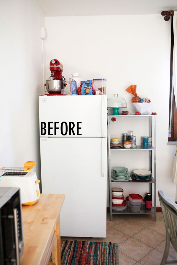 Open shelving with butcher block wood and painted metallic shelf brackets | Freckle & Fair