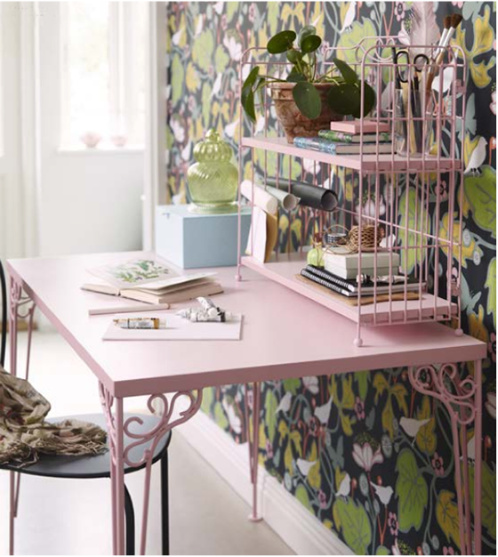 Pink FALKHÖJDEN desk from Ikea via Poppytalk | Freckle & Fair