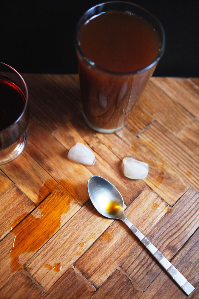 Burnt sugar simple syrup + cold brew iced coffee | Freckle & Fair