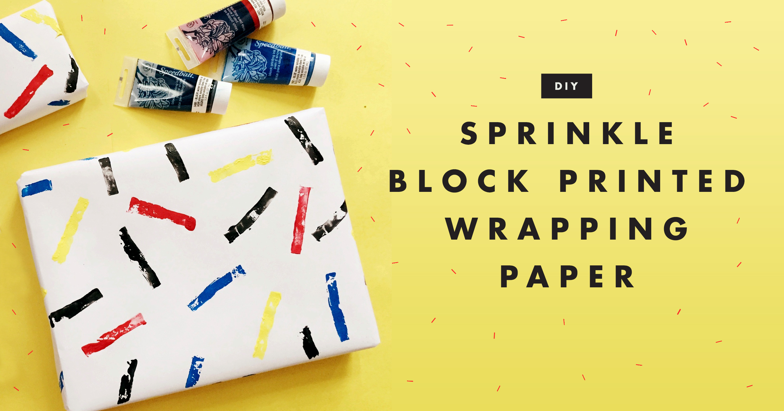DIY: Sprinkle Block Printed Wrapping Paper | Freckle & Fair