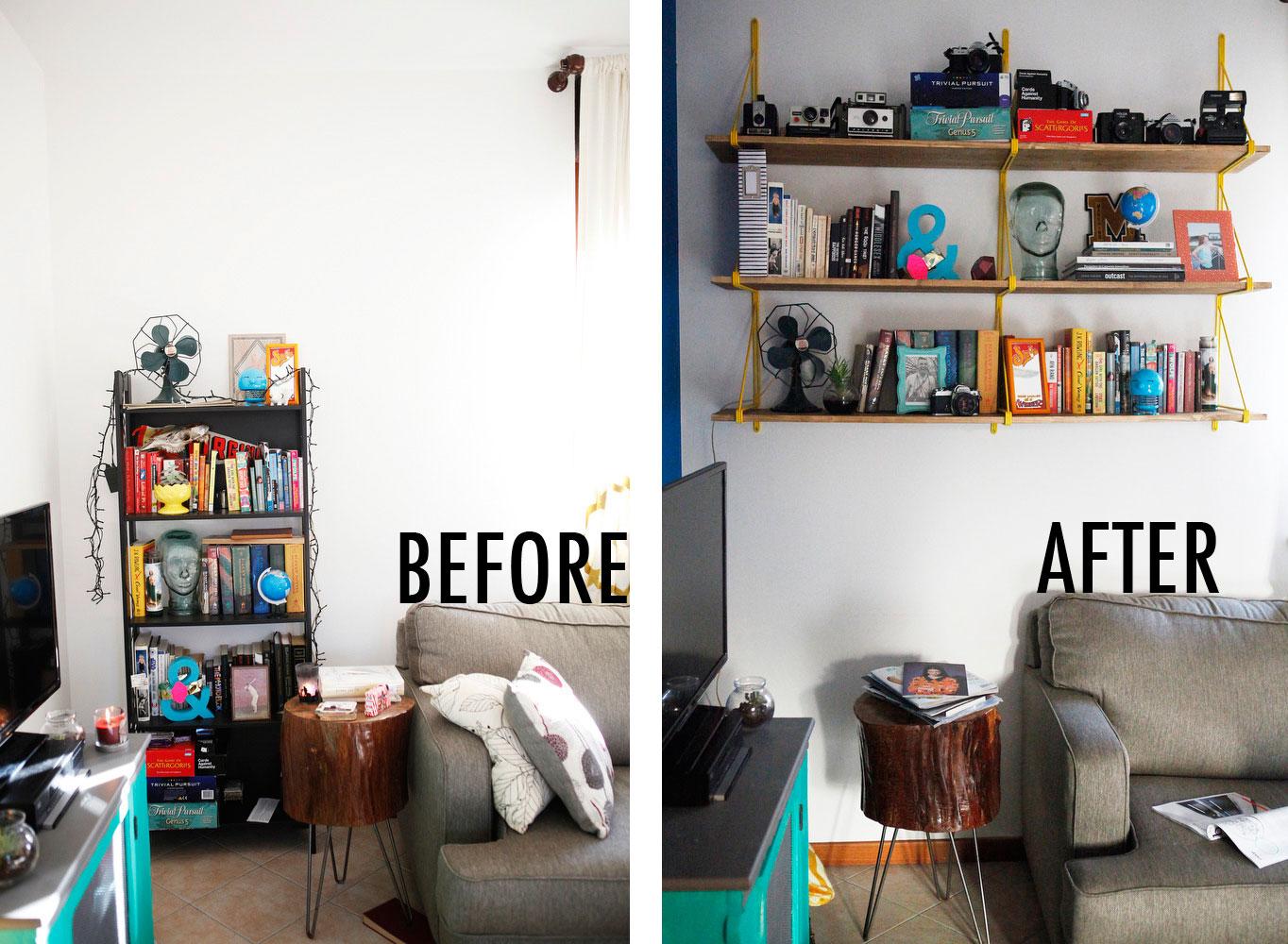 IKEA hack: EKBY GÄLLÖ living room shelves | Freckle & Fair