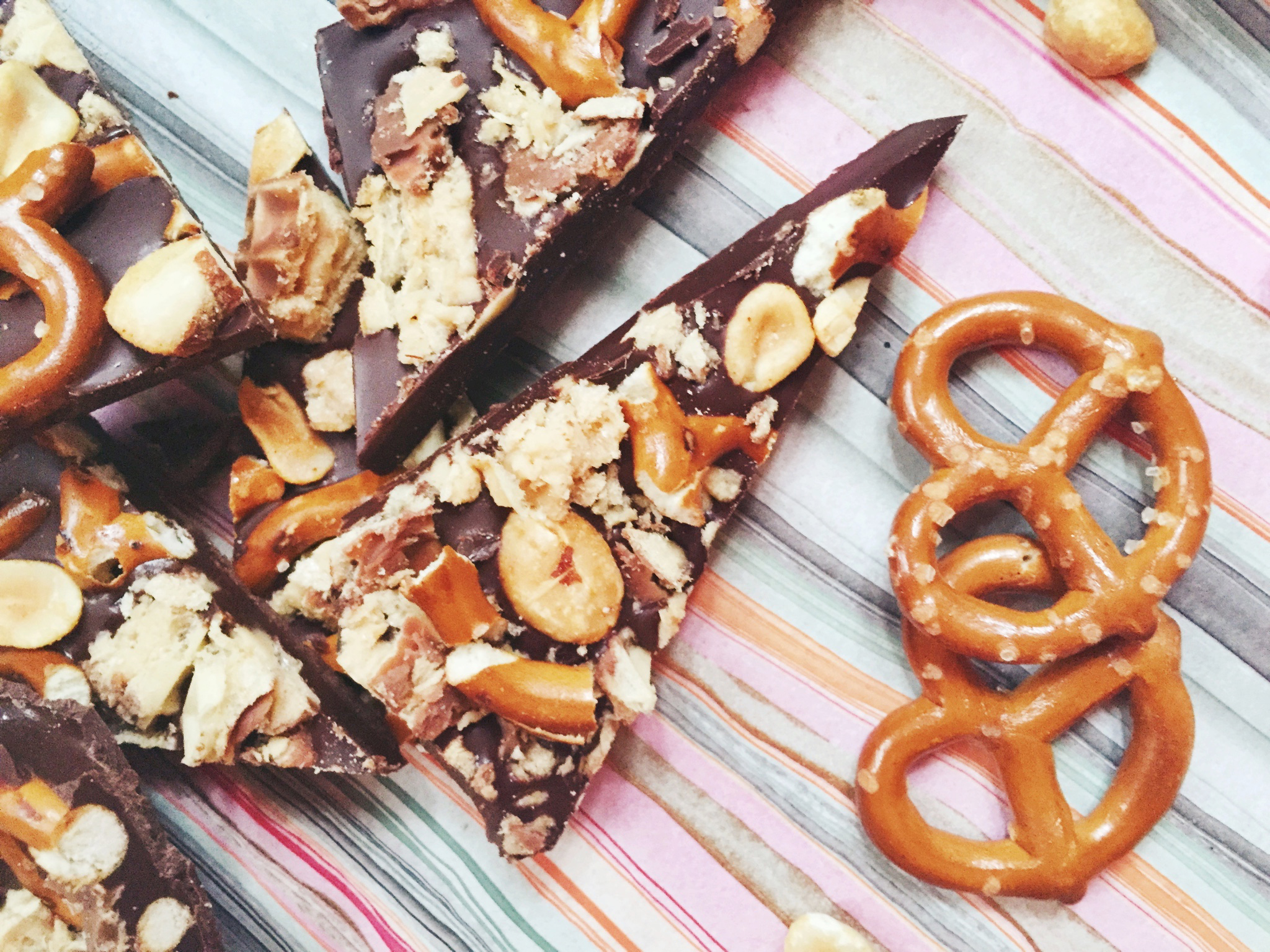 After School Snack Bark with Dark Chocolate, Pretzels, Peanuts and Nutty Bars | Freckle & Fair