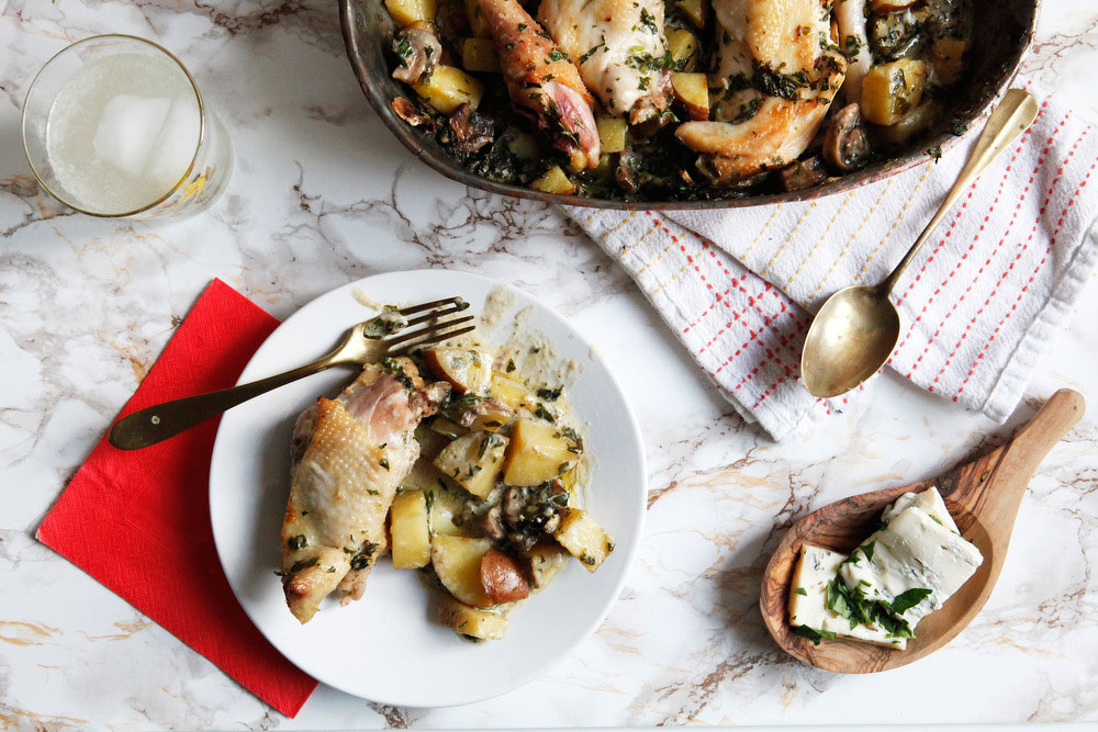 Roasted gorgonzola mascarpone chicken with mushrooms