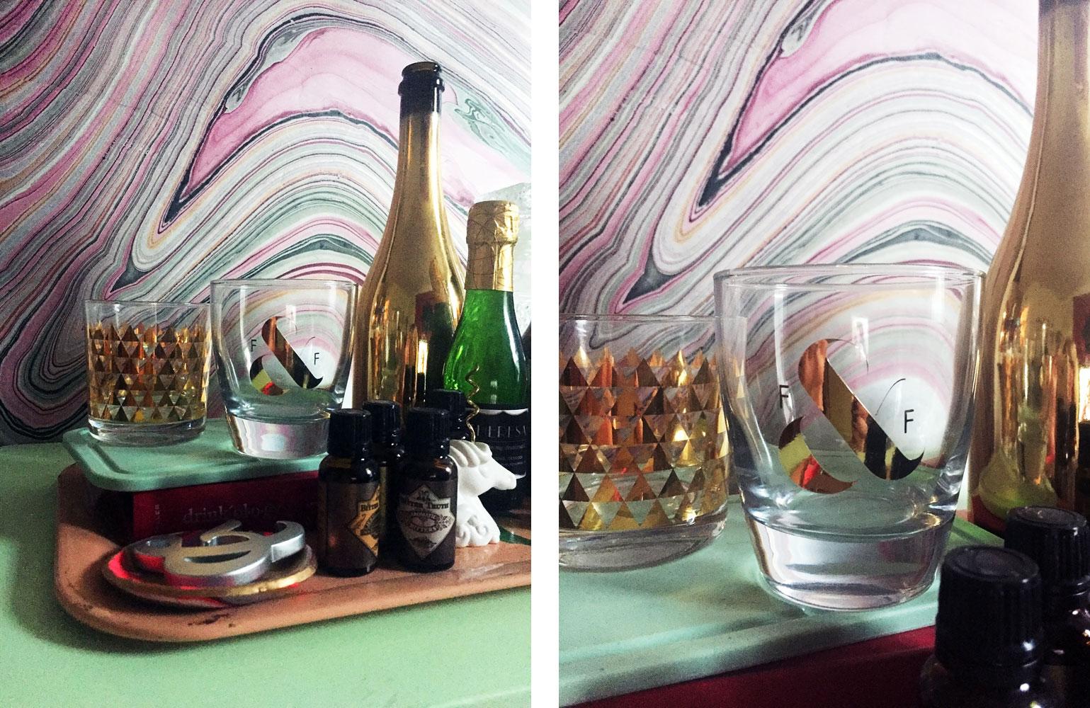 Custom gilded whiskey tumblers | Freckle & Fair
