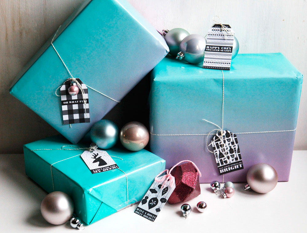 Black & white gift tags for Christmas presents