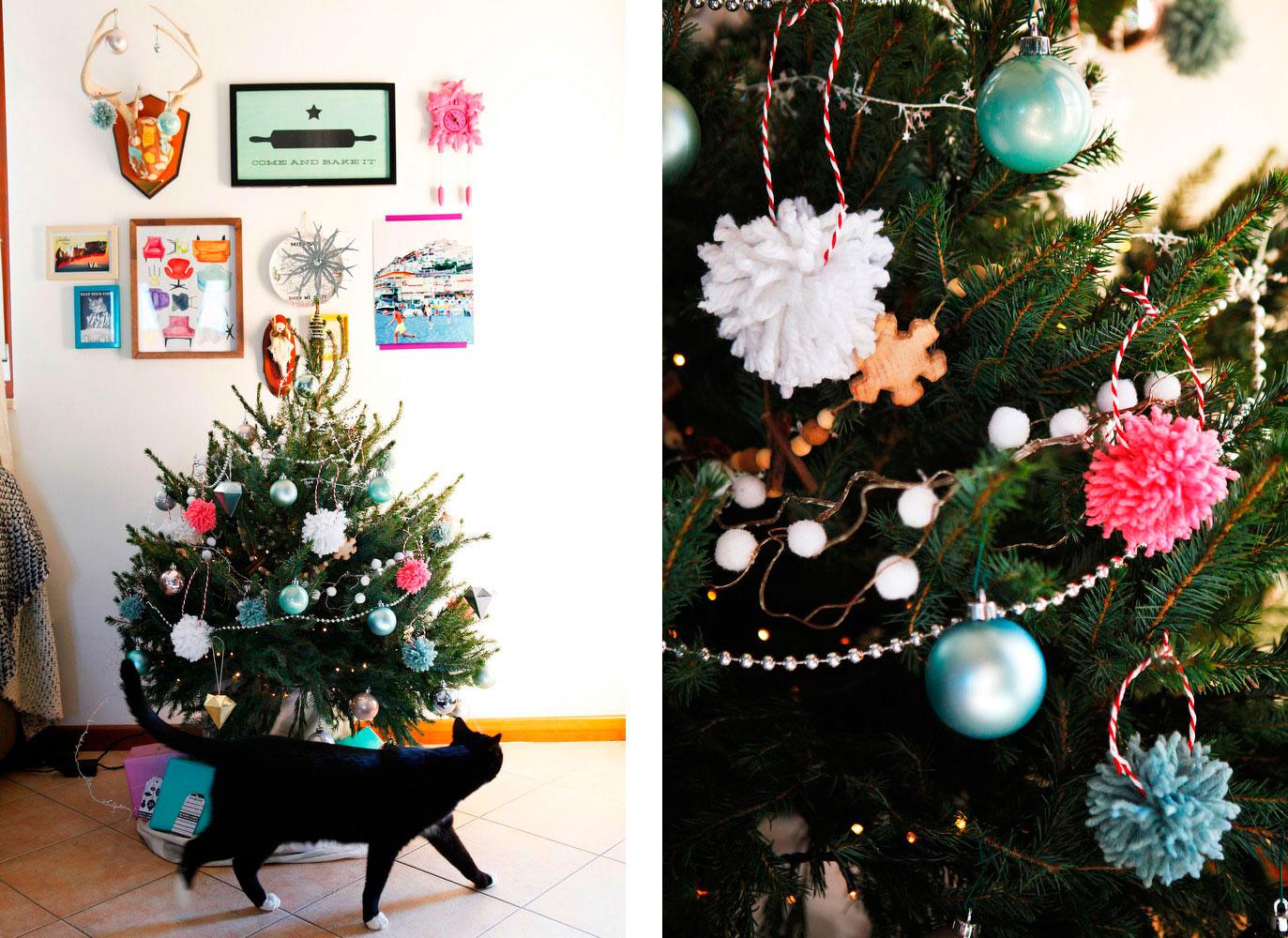Diy Yarn Pom Pom Christmas Tree Ornaments Freckle Fair Recipes Diy Tutorials Travel Guides And General Awesomeness