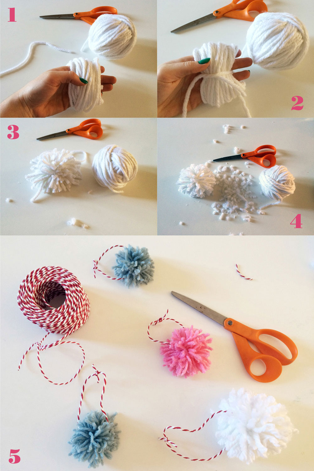 DIY yarn pom pom Christmas ornaments