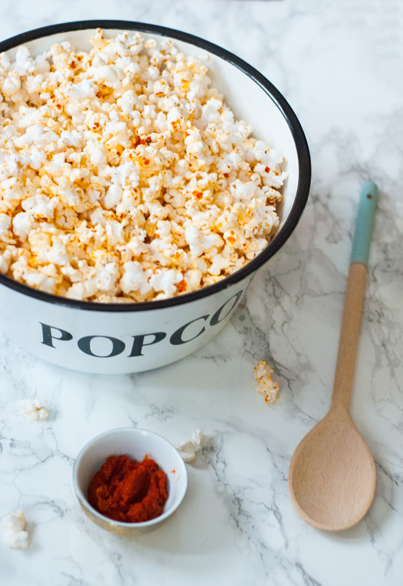 Red coconut curry popcorn | freckleandfair.com