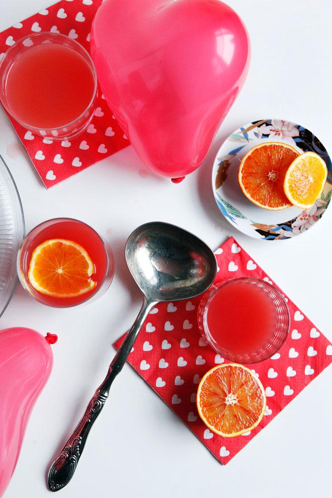 Blood orange wine spritzer punch with pomegranate for Valentine's Day | www.freckleandfair.com