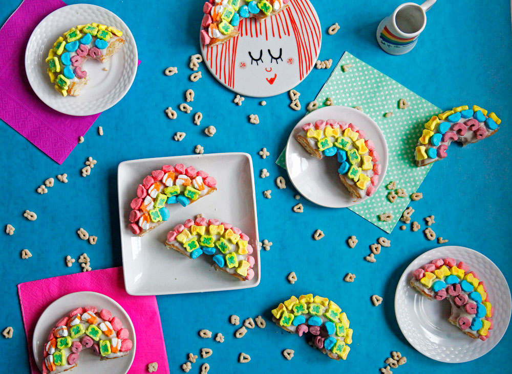 Lucky Charms rainbow donuts for St. Patrick's Day | www.freckleandfair.com