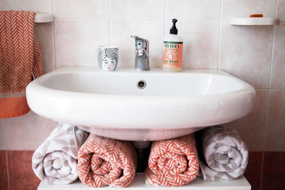 Whimsical pink bathroom with Scandinavian details | freckleandfair.com