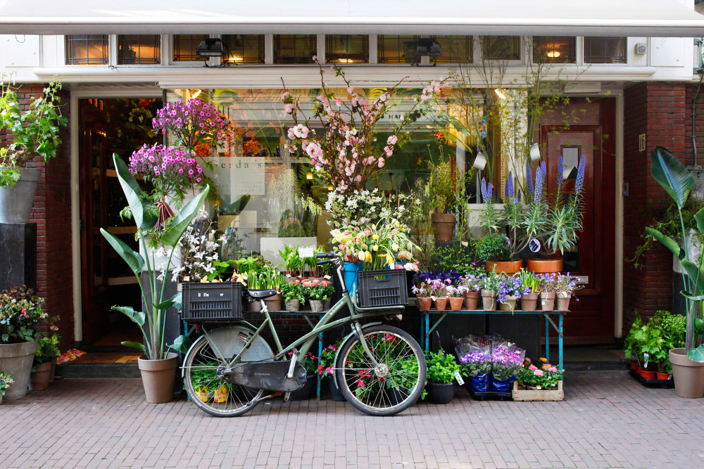 Bicycles and flower shops in Amsterdam | freckleandfair.com