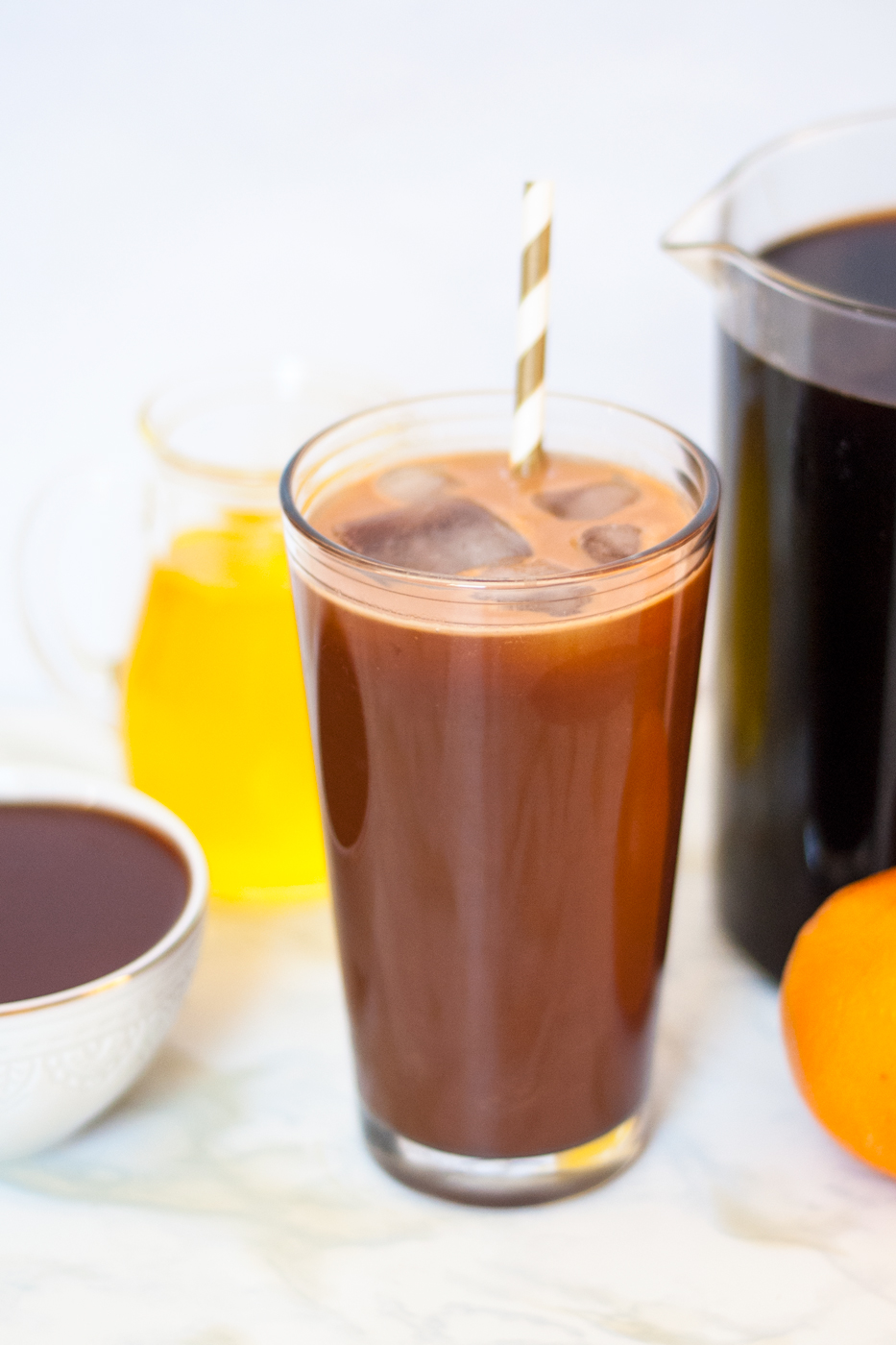 Dark chocolate orange iced coffee | freckleandfair.com