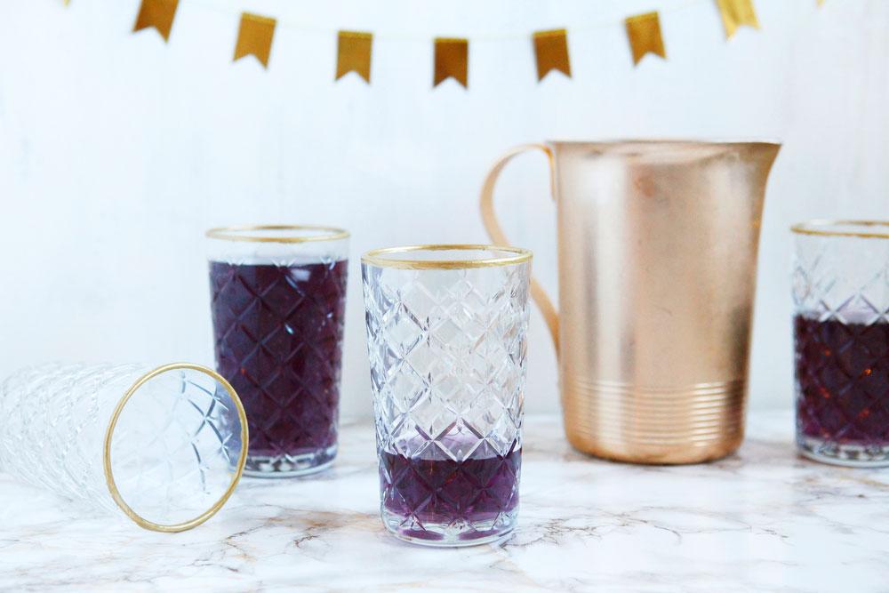 DIY gold-rimmed drinking glasses | freckleandfair.com