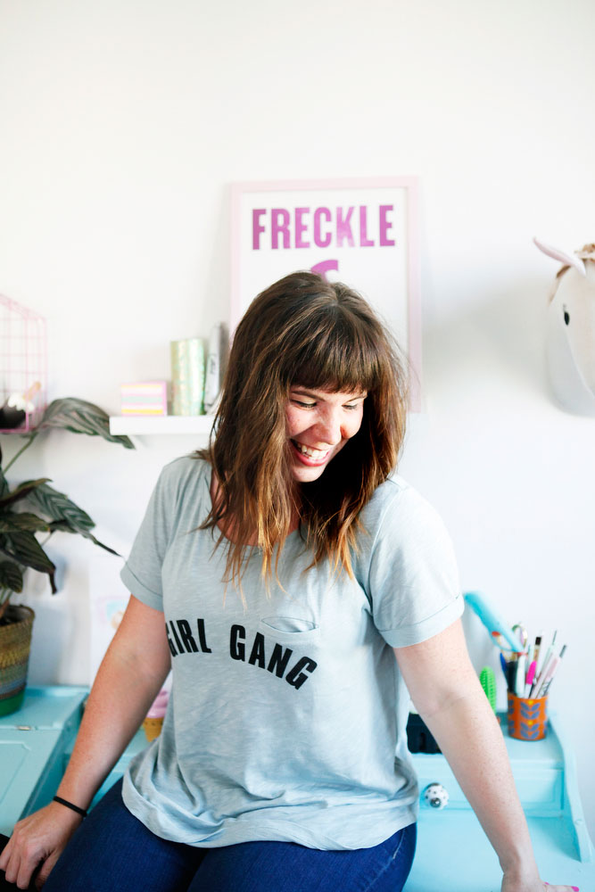"""DIY """"girl gang"""" graphic tees (they're iron-on!)   freckleandfair.com"""