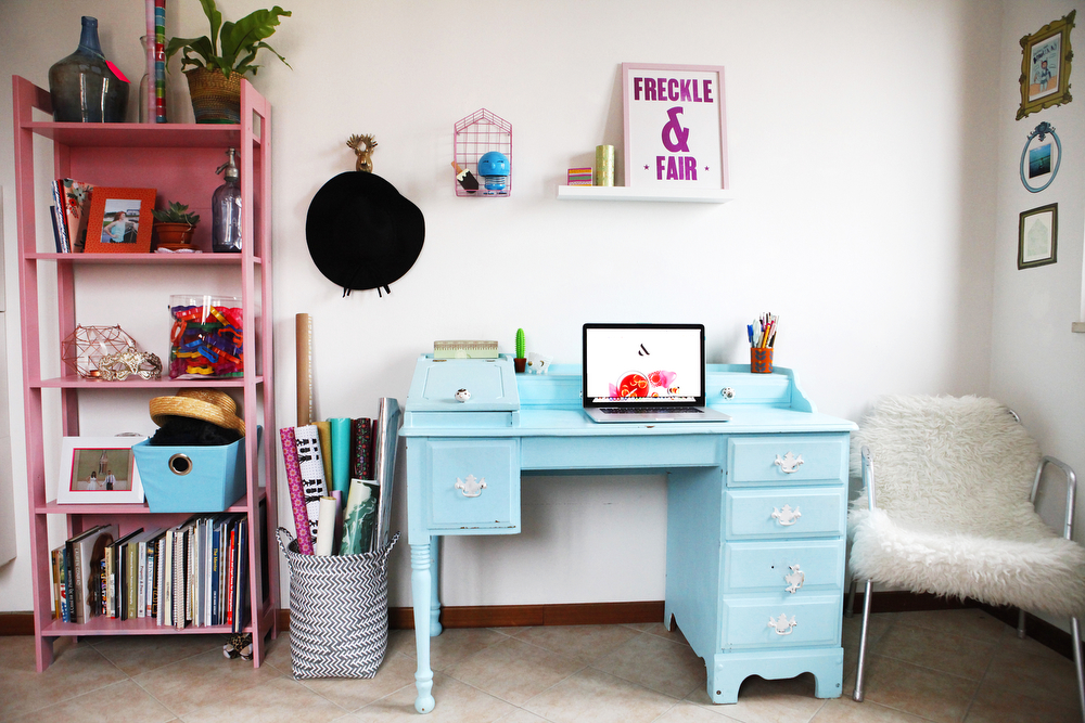 Pantone pastel bedroom and office makeover with pink and blue | www.freckleandfair