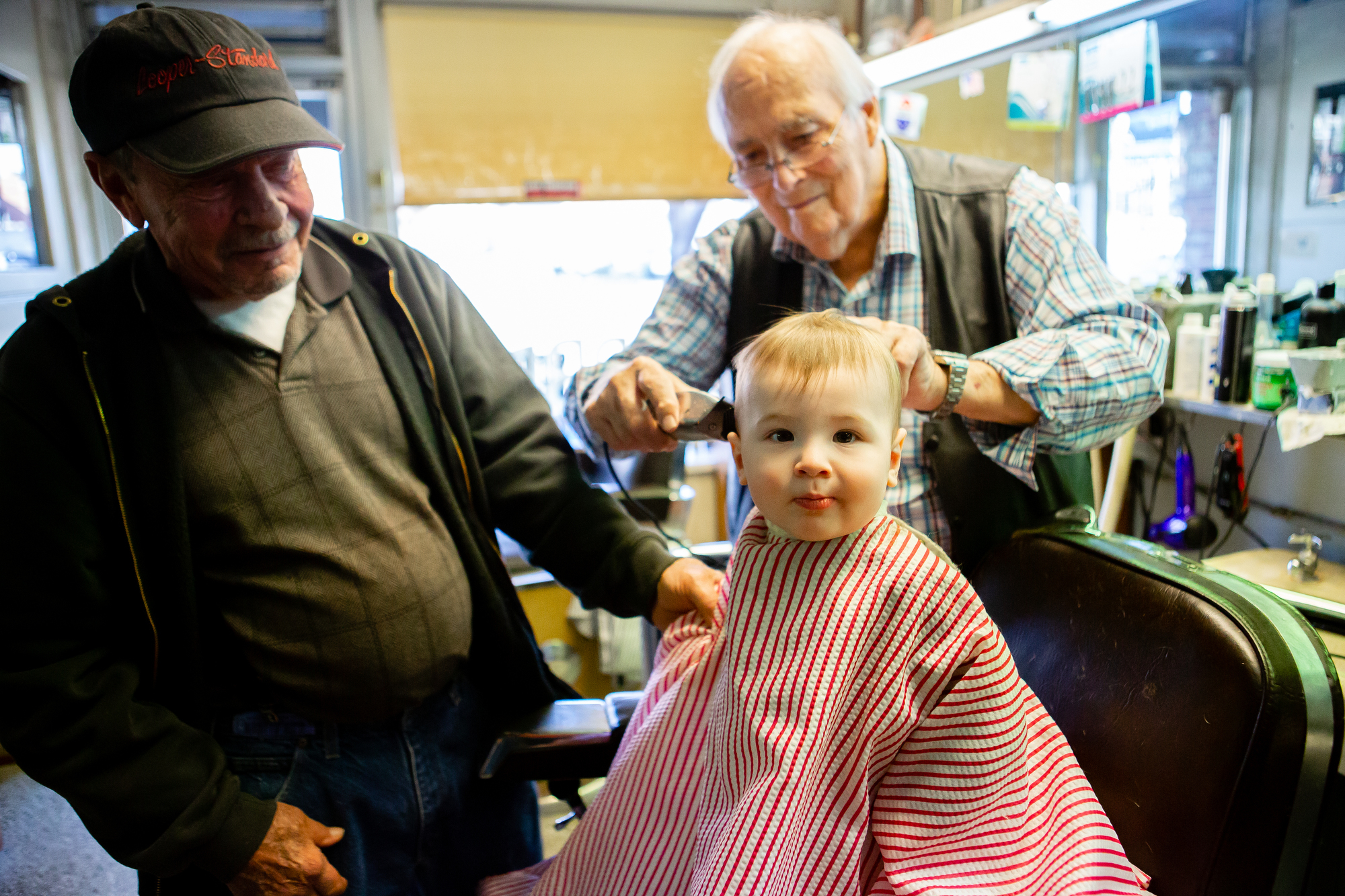 Fox's first haircut at Dennis Snapp's