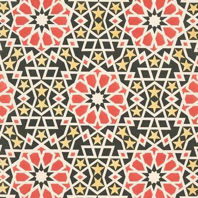 Arabesque:  An elaborate design of intertwinedfloral or geometric motifs. Commonly inspired byIslamic art.