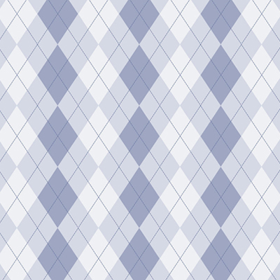 Argyle: Geometric pattern of varicolored diamonds in solid and outline shapes on a single background color.
