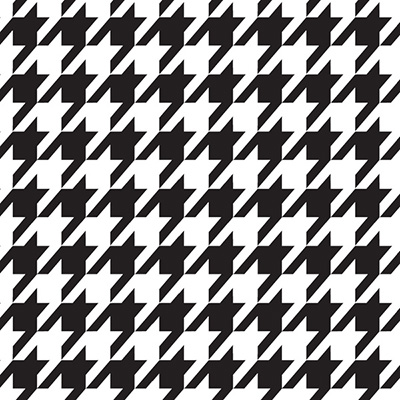 Houndstooth:  A pattern of small jaggedchecks created by four-pointed stars.