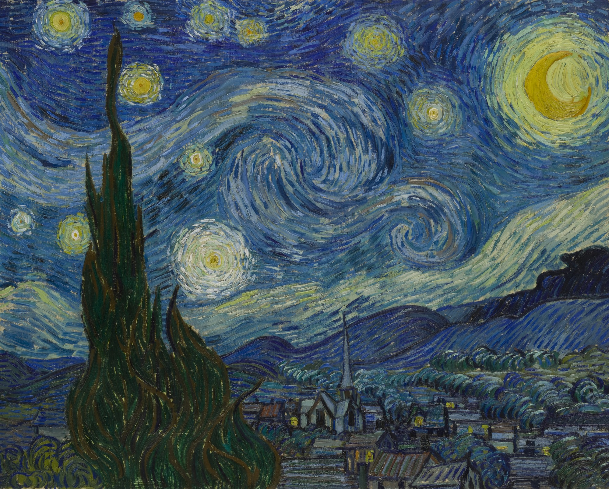 "Vincent van Gogh,  The Starry Night , Saint Rémy, June 1889, oil on canvas, 29 x 36 1/4"". Source:  MOMA"