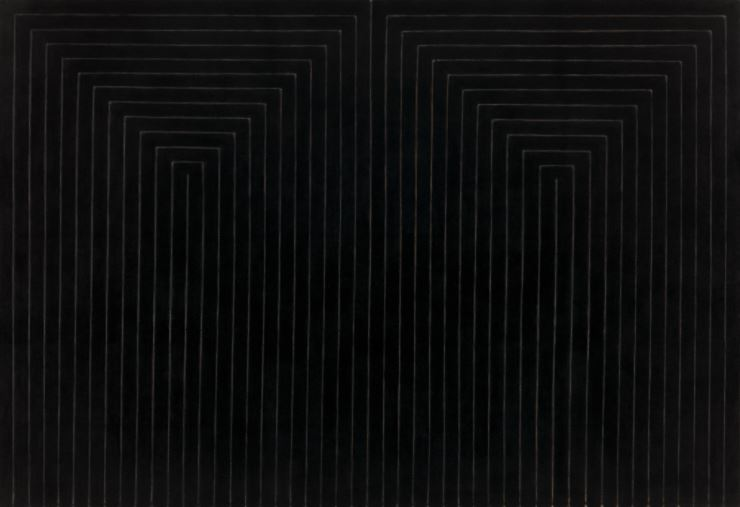 """""""The Marriage of Reason and Squalor, II"""", by Frank Stella (1959). Enamel on canvas. 230.5 x 337.2 cm.MoMA."""