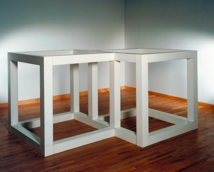 """Two Open Modular Cubes/Half-Off"", by Sol LeWitt (1972). Enamel on aluminum, 1600x3054x2330 mm. Tate Museum."