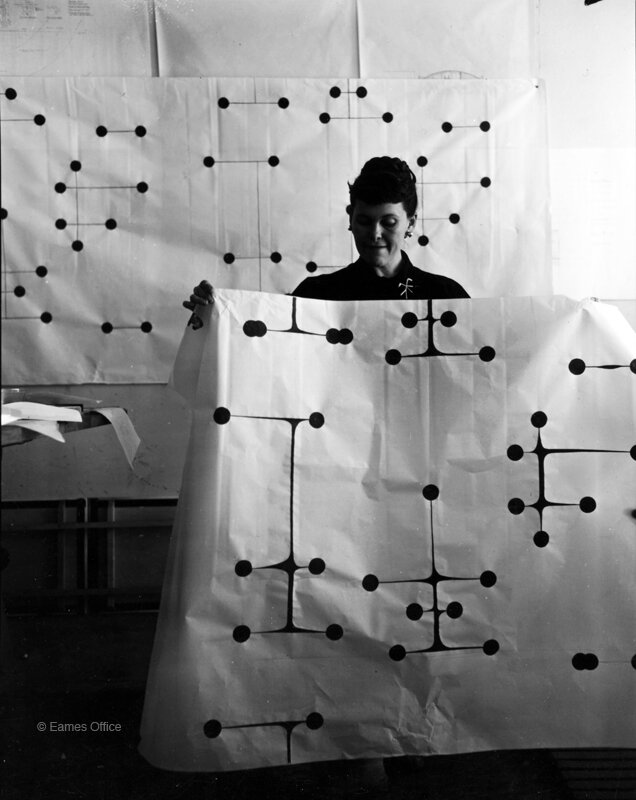 Ray with her Dot Pattern fabric in 1947.