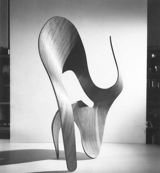 A molded-plywood sculpture by Ray, 1943