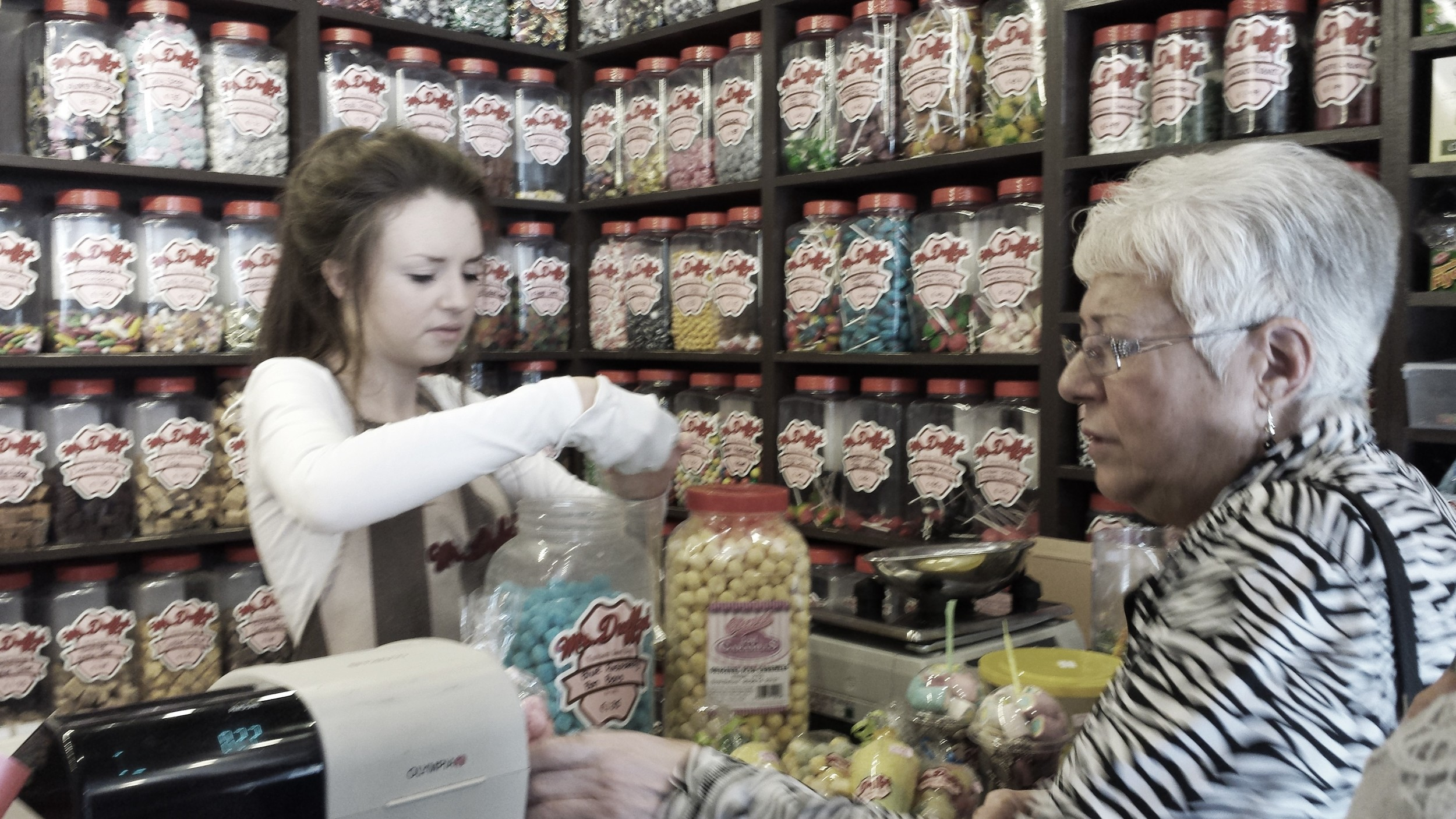 Grandma in the sweet shop